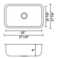 "STAINLESS STEEL UNDERMOUNT SINGLE-BOWL SINK 27-1/8""x17-7/8""x9"""